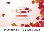 autumn sale banner layout... | Shutterstock .eps vector #1142986535