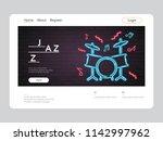 jazz music landing page neon... | Shutterstock .eps vector #1142997962