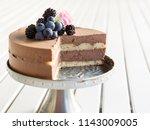 birthday chocolate mousse cake | Shutterstock . vector #1143009005