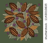 cacao beans plant  vector... | Shutterstock .eps vector #1143010835