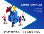 isometric winner business and... | Shutterstock .eps vector #1143014402