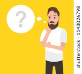 man is thinking. question mark. ... | Shutterstock .eps vector #1143026798
