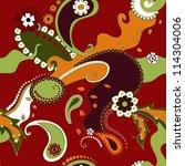 floral seamless paisley vector... | Shutterstock .eps vector #114304006