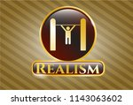 gold emblem with pull up icon... | Shutterstock .eps vector #1143063602