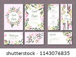 floral wedding invitation with... | Shutterstock .eps vector #1143076835