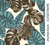 tropical leaves. seamless... | Shutterstock .eps vector #1143078698