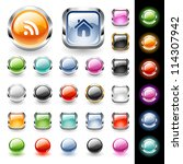 set of glossy web buttons in... | Shutterstock .eps vector #114307942