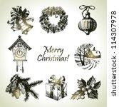 hand drawn christmas set   Shutterstock .eps vector #114307978