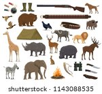 Stock vector hunting sport weapon wild animals and birds gun rifle and knife duck dog and deer african 1143088535