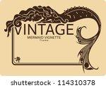 vintage mermaid frame vignette | Shutterstock .eps vector #114310378