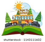students going to school by bus ... | Shutterstock .eps vector #1143111602
