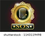 gold emblem with notebook with ... | Shutterstock .eps vector #1143119498