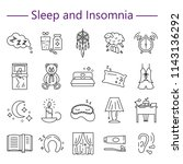 sleep and insomnia line icons... | Shutterstock . vector #1143136292
