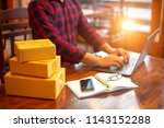 online shopping young start... | Shutterstock . vector #1143152288