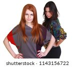 Small photo of Portrait of two girlfriends - brunette and red-haired model, isolated on white background