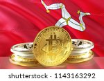bitcoin coins on isle of man...   Shutterstock . vector #1143163292