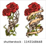 Stock vector vector illustration of tattoo style drawing skeleton hand bones finger holding roses with ribbon 1143168668