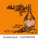 card with old fashioned wine... | Shutterstock .eps vector #1143185438
