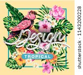 tropical flowers and palms... | Shutterstock .eps vector #1143200228