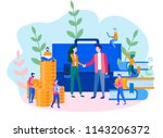 concept the investor holds... | Shutterstock .eps vector #1143206372