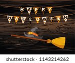 broom withhat and carnival for...   Shutterstock .eps vector #1143214262