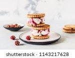 two raspberry swirl ice cream... | Shutterstock . vector #1143217628