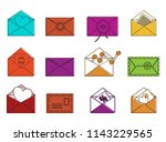 letter icon set. color outline...