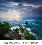 Coast Of Indian Ocean At Sunse...