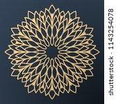 laser cutting mandala. golden... | Shutterstock .eps vector #1143254078