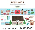 flat pets shop elements... | Shutterstock .eps vector #1143259805
