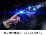 digital business hands pointing ... | Shutterstock . vector #1143270542