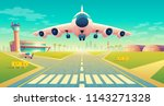 vector takeoff of the plane on... | Shutterstock .eps vector #1143271328