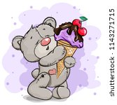 happy bear holds a huge ice... | Shutterstock .eps vector #1143271715