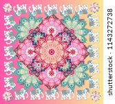 square shawl with flower... | Shutterstock . vector #1143272738