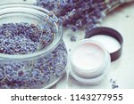 lavender body care products.... | Shutterstock . vector #1143277955