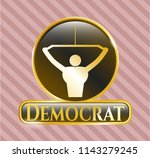 gold shiny badge with lat pull ... | Shutterstock .eps vector #1143279245