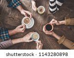people drinking coffee high... | Shutterstock . vector #1143280898