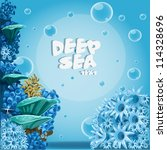 Deep Sea Blue Background With...