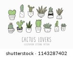 hand drawn cactus print | Shutterstock .eps vector #1143287402
