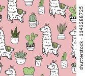 cute alpaca vector print.... | Shutterstock .eps vector #1143288725