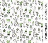 cute alpaca vector print.... | Shutterstock .eps vector #1143288728