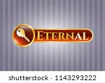 gold emblem with key icon and... | Shutterstock .eps vector #1143293222