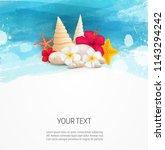 pebble stones  seashells and... | Shutterstock . vector #1143294242