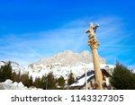 formigal ski area stone cross... | Shutterstock . vector #1143327305