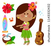 hawaiian hula dancing girl.... | Shutterstock .eps vector #1143332432