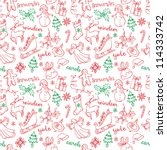 christmas doodles icons   words ... | Shutterstock .eps vector #114333742