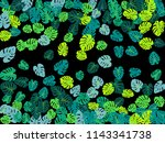 teal tropical jungle leaves... | Shutterstock .eps vector #1143341738