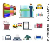 textile industry cartoon icons... | Shutterstock .eps vector #1143352442