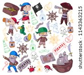 pirate party for little... | Shutterstock .eps vector #1143363215