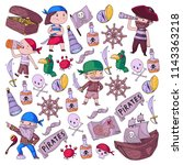 pirate party for little... | Shutterstock .eps vector #1143363218